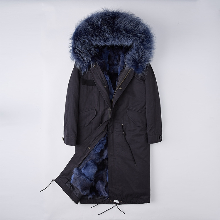 Detachable Fox Fur Lined Parka with Raccoon Fur Trimmed Hood 250 Black-Blue-1