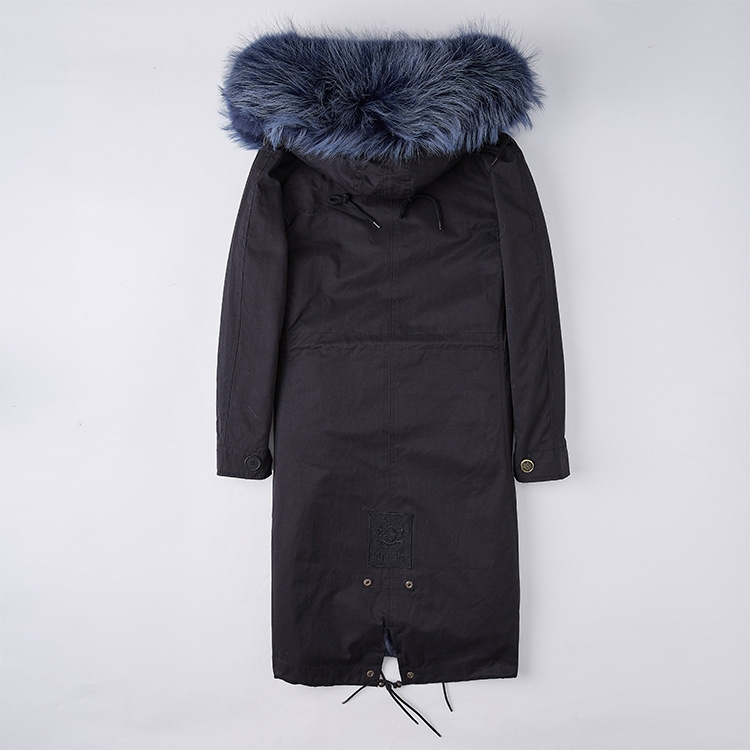 Detachable Fox Fur Lined Parka with Raccoon Fur Trimmed Hood 250 Black-Blue-2