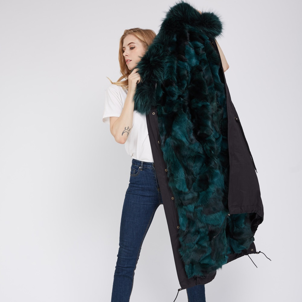 Detachable Fox Fur Lined Parka with Raccoon Fur Trimmed Hood 250 Black-Green-1