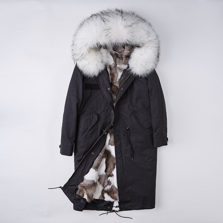 Detachable Fox Fur Lined Parka with Raccoon Fur Trimmed Hood 250 Black-White-1