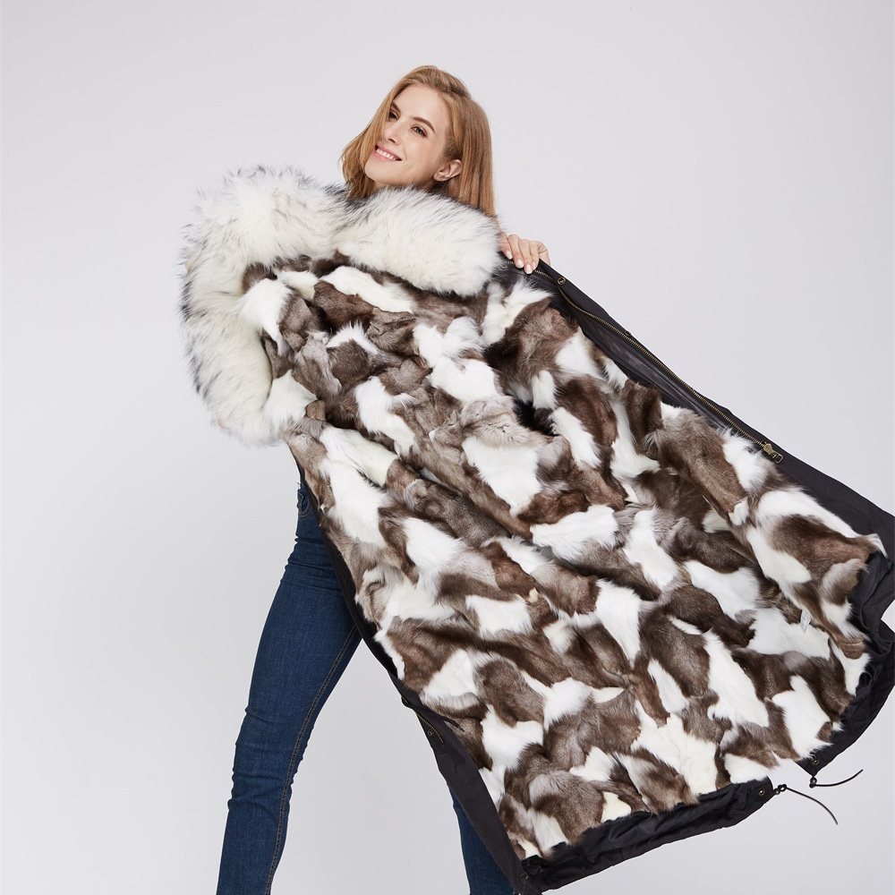 Detachable Fox Fur Lined Parka with Raccoon Fur Trimmed Hood 250 Black-White-2