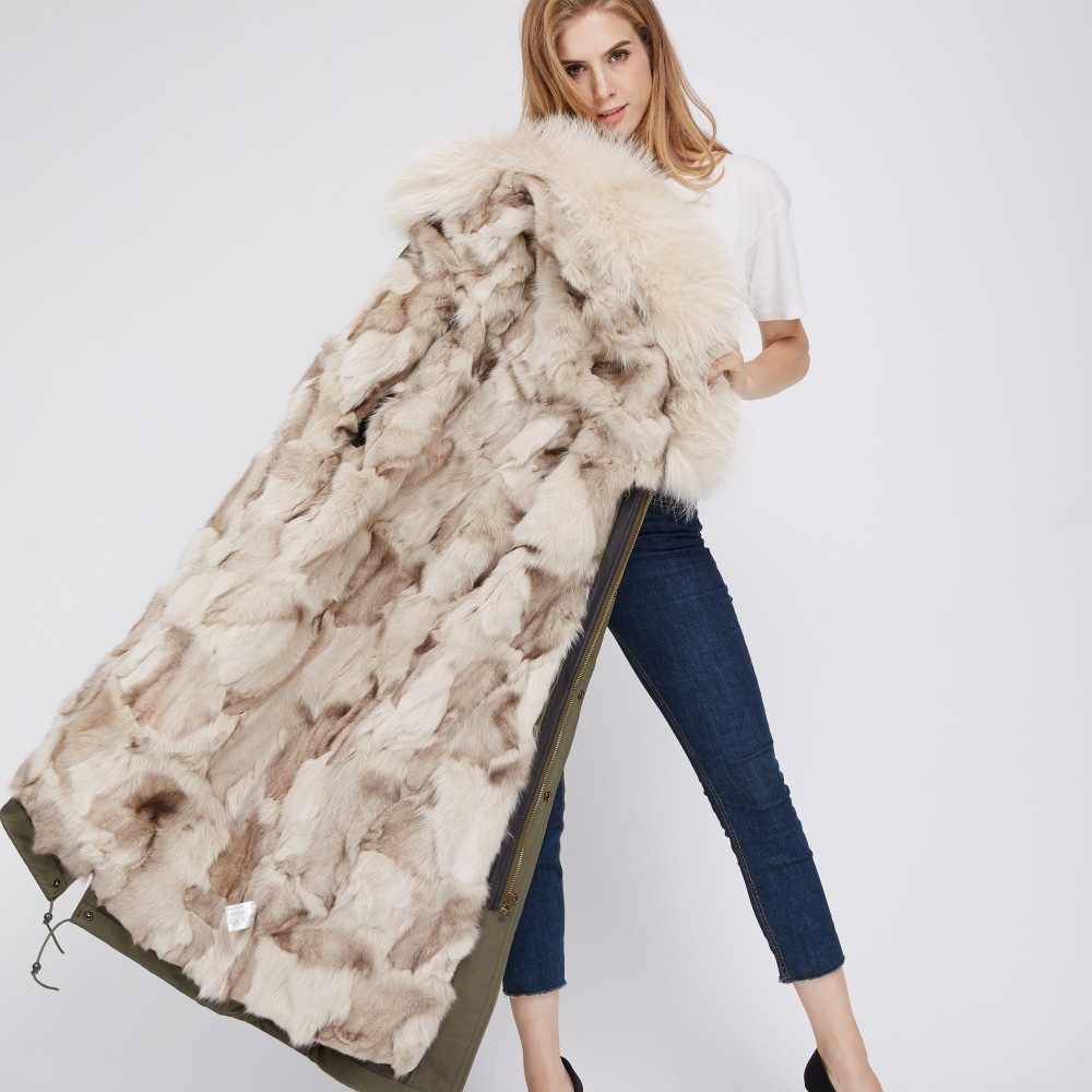 Detachable Fox Fur Lined Parka with Raccoon Fur Trimmed Hood 250 Green-Beige-1