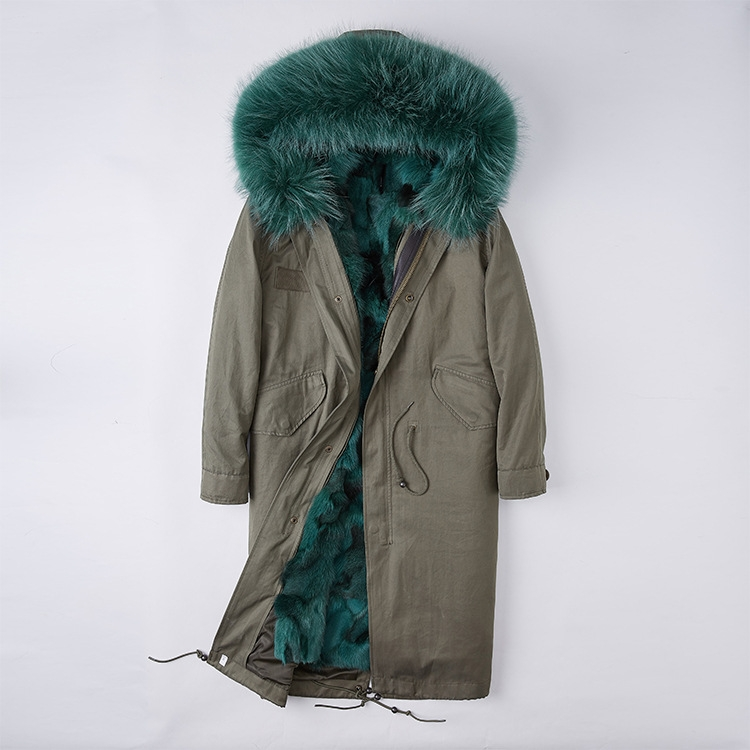 Detachable Fox Fur Lined Parka with Raccoon Fur Trimmed Hood 250 Green-Green-1