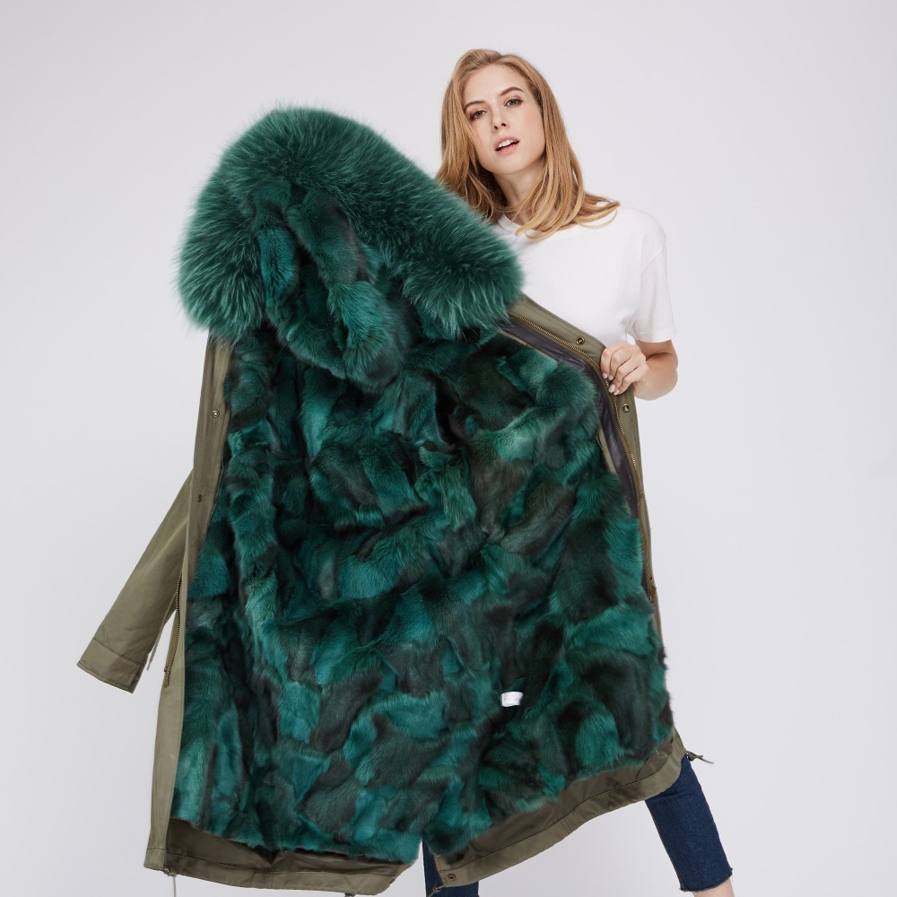 Detachable Fox Fur Lined Parka with Raccoon Fur Trimmed Hood 250 Green-Green-2