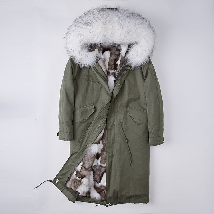 Detachable Fox Fur Lined Parka with Raccoon Fur Trimmed Hood 250 Green-White-1