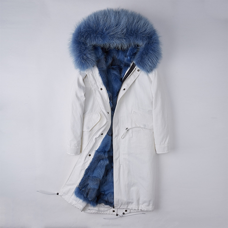 Detachable Fox Fur Lined Parka with Raccoon Fur Trimmed Hood 250 White-Blue-1