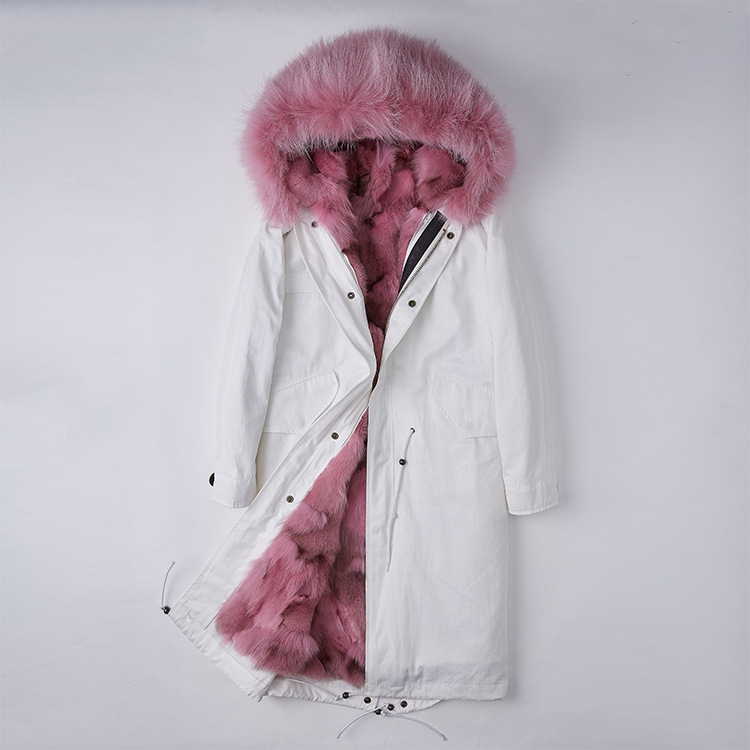 Detachable Fox Fur Lined Parka with Raccoon Fur Trimmed Hood 250 White-Pink-1