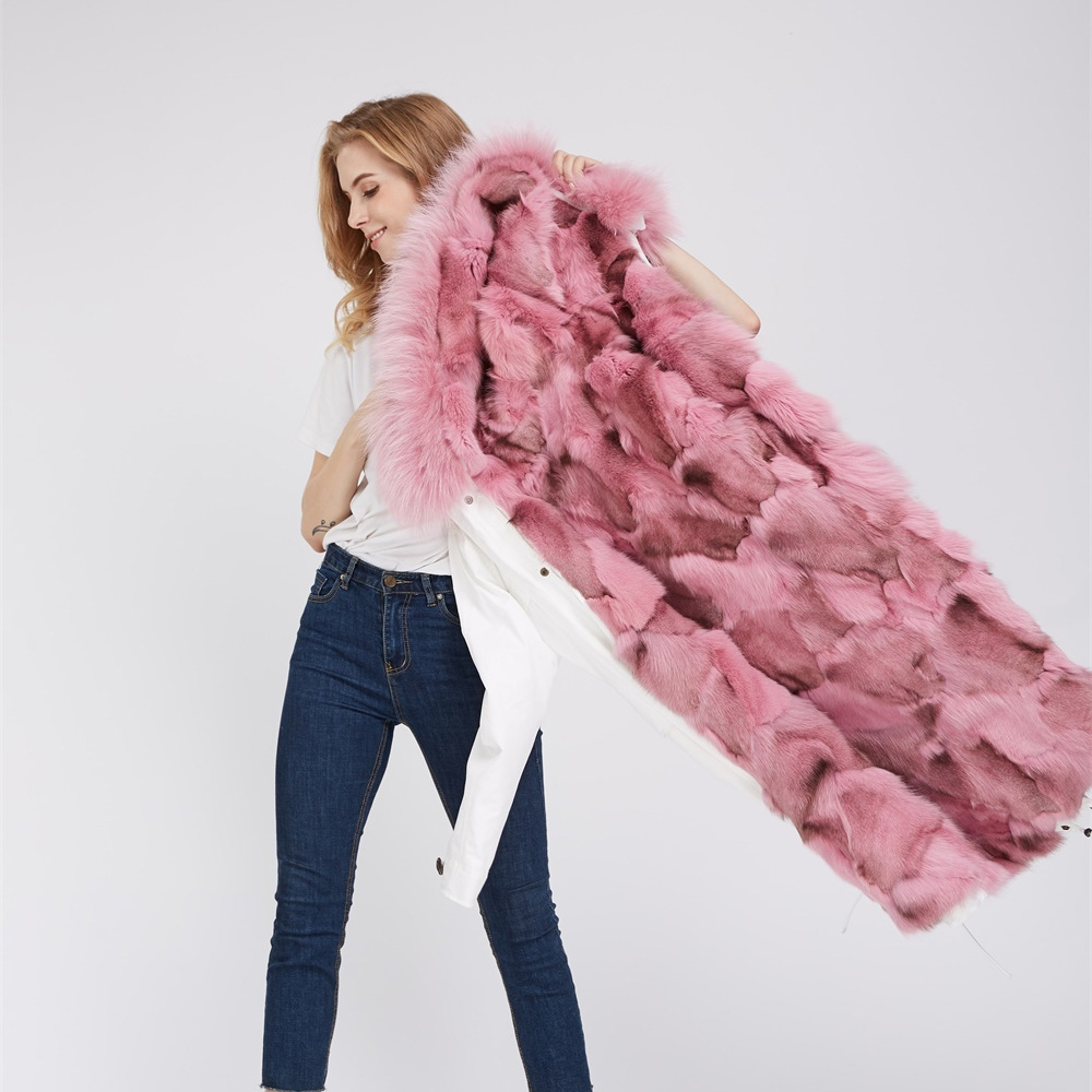 Detachable Fox Fur Lined Parka with Raccoon Fur Trimmed Hood 250 White-Pink-2