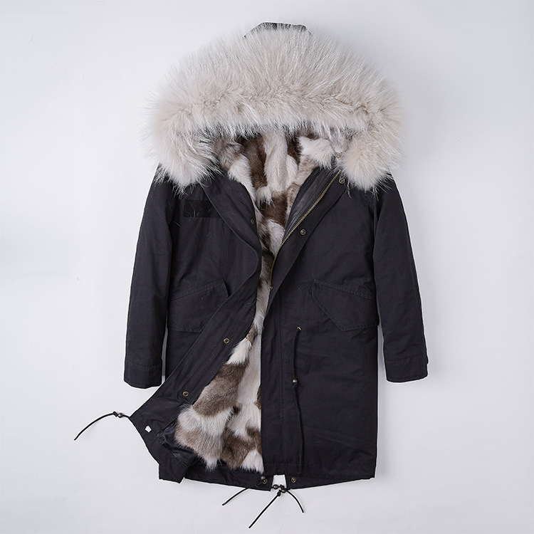 Detachable Fox Fur Liner Parka with Raccoon Fur Trimmed Hood 251 Black-Beige