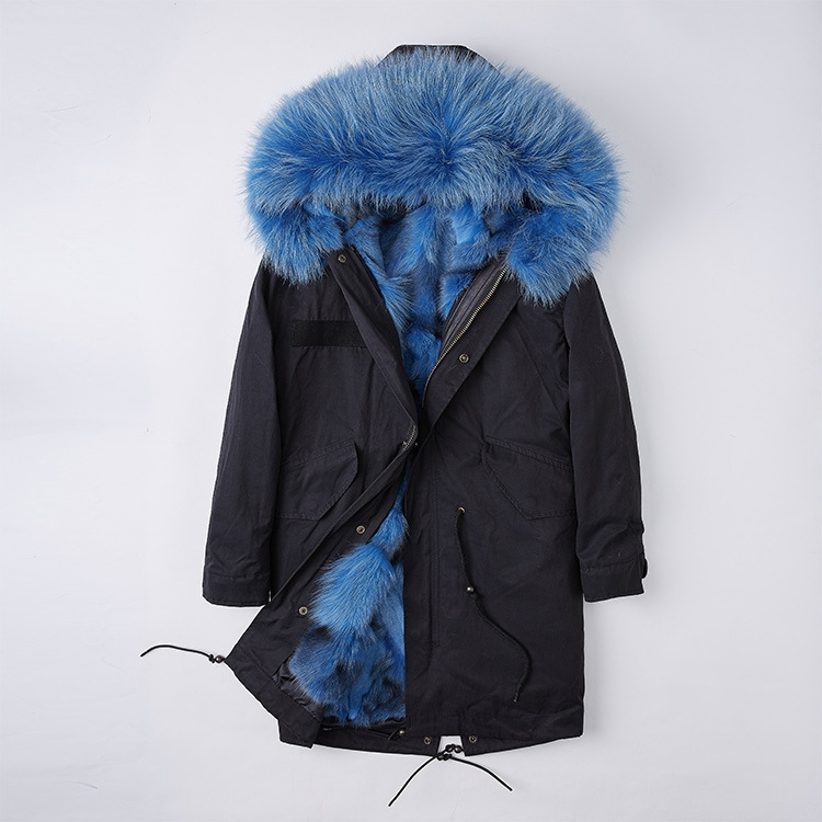 Detachable Fox Fur Liner Parka with Raccoon Fur Trimmed Hood 251 Black-Blue-1