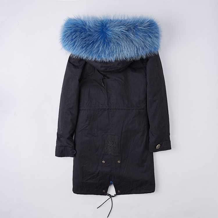 Detachable Fox Fur Liner Parka with Raccoon Fur Trimmed Hood 251 Black-Blue-2