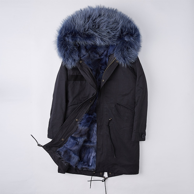 Detachable Fox Fur Liner Parka with Raccoon Fur Trimmed Hood 251 Black-Dark-Blue