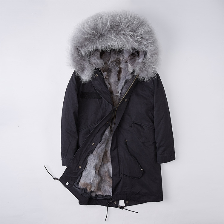 Detachable Fox Fur Liner Parka with Raccoon Fur Trimmed Hood 251 Black-Gray