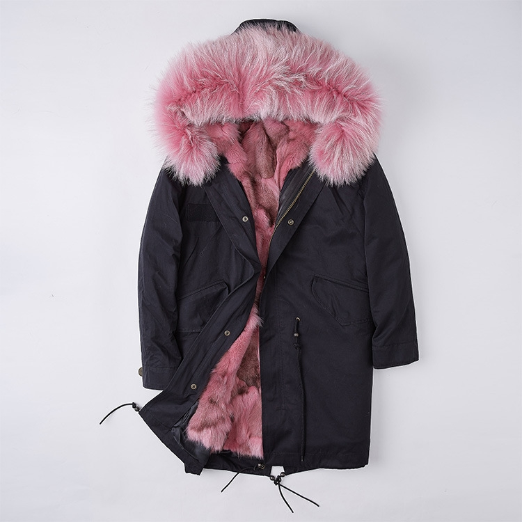Detachable Fox Fur Liner Parka with Raccoon Fur Trimmed Hood 251 Black-Pink-1