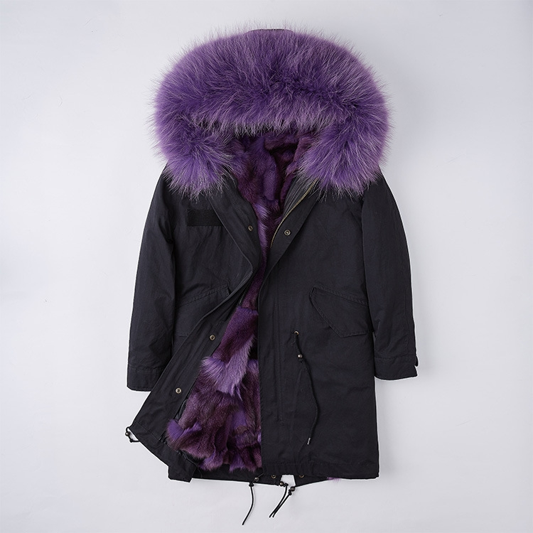 Detachable Fox Fur Liner Parka with Raccoon Fur Trimmed Hood 251 Black-Purple