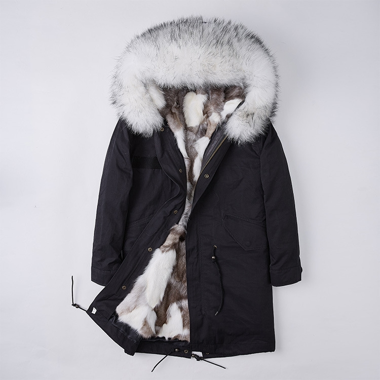 Detachable Fox Fur Liner Parka with Raccoon Fur Trimmed Hood 251 Black-White