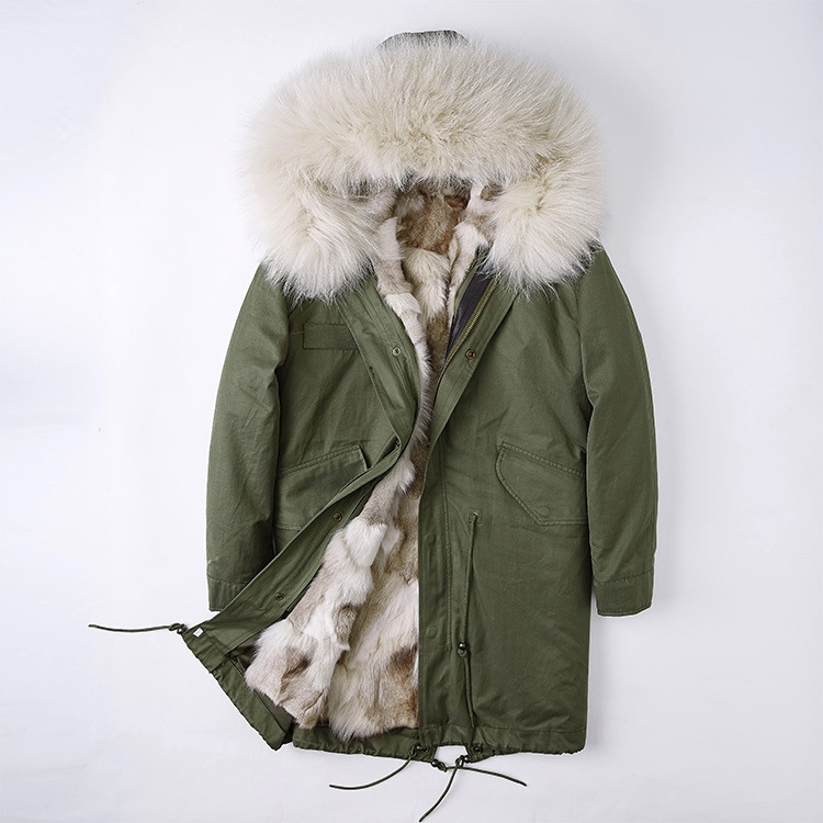 Detachable Fox Fur Liner Parka with Raccoon Fur Trimmed Hood 251 Green-Beige