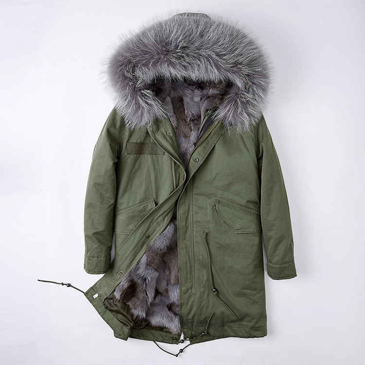 Detachable Fox Fur Liner Parka with Raccoon Fur Trimmed Hood 251 Green-Gray