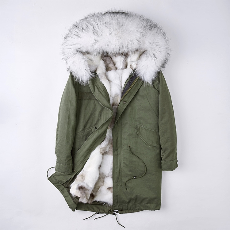 Detachable Fox Fur Liner Parka with Raccoon Fur Trimmed Hood 251 Green-White