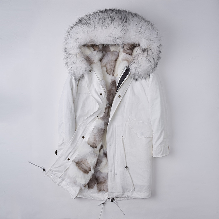 Detachable Fox Fur Liner Parka with Raccoon Fur Trimmed Hood 251 White-White