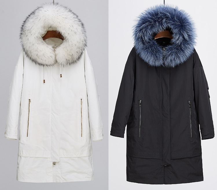 Raccoon Fur Trimmed Hood Parka with Detachable Fox Fur Liner 252 Color 1