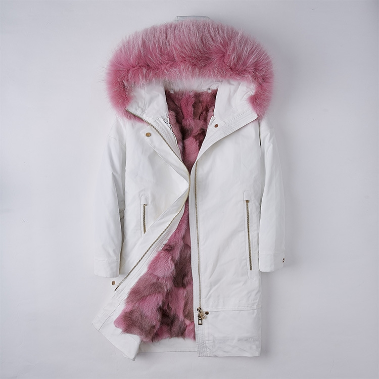 Raccoon Fur Trimmed Hood Parka with Detachable Fox Fur Liner 252 Color 2
