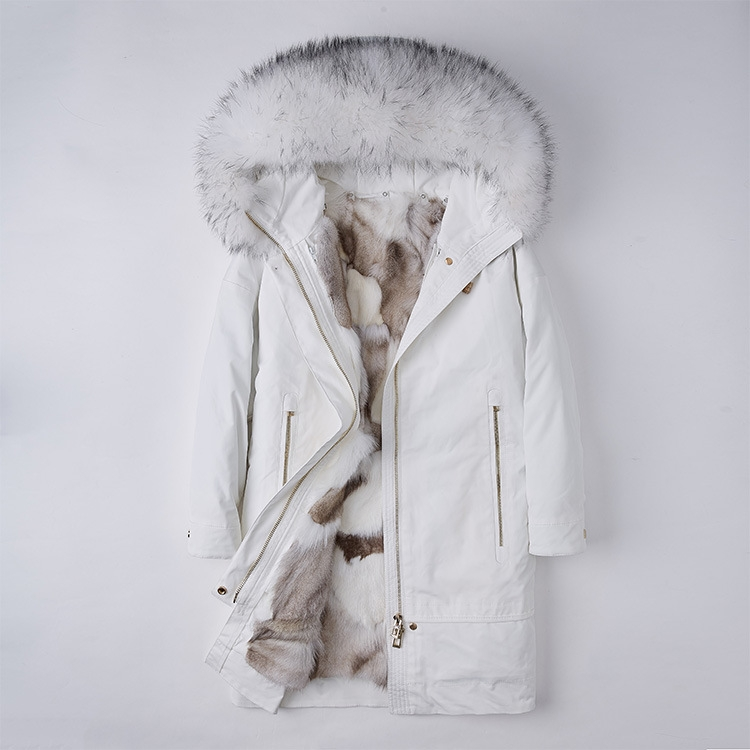 Raccoon Fur Trimmed Hood Parka with Detachable Fox Fur Liner 252 Color 4