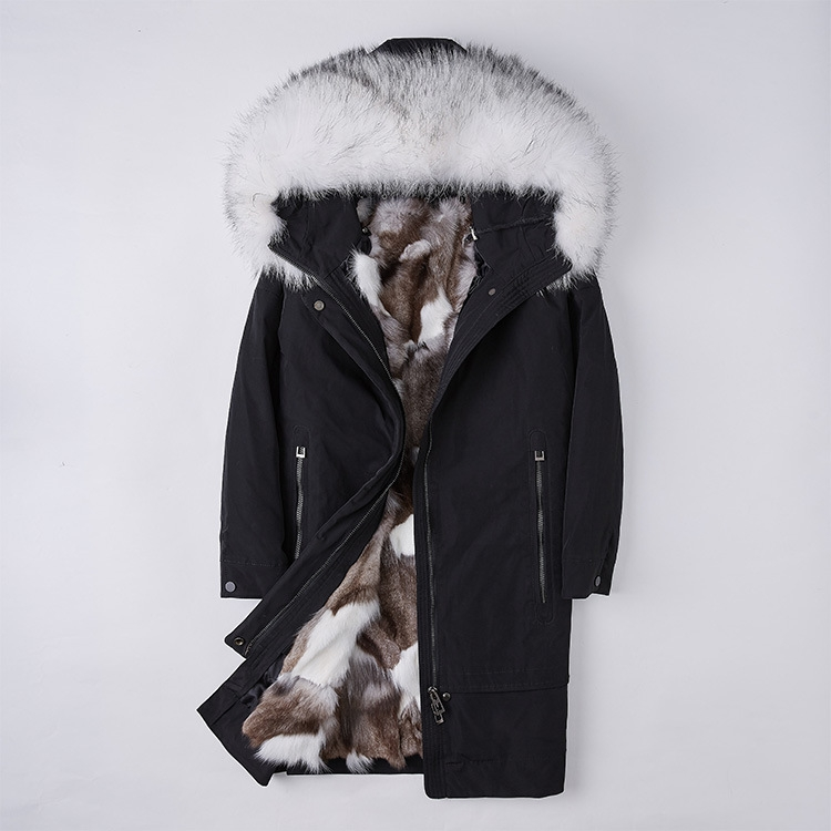 Raccoon Fur Trimmed Hood Parka with Detachable Fox Fur Liner 252 Color 6