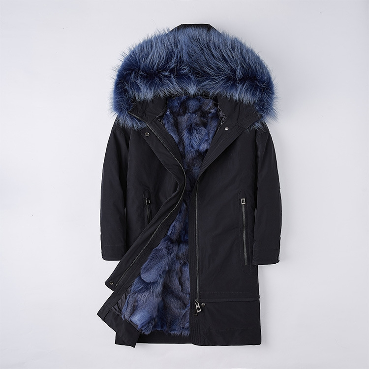 Raccoon Fur Trimmed Hood Parka with Detachable Fox Fur Liner 252 Color 7
