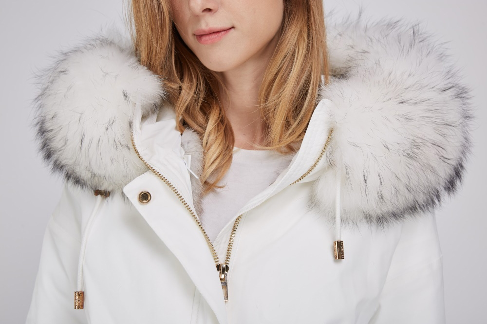 Raccoon Fur Trimmed Hood Parka with Detachable Fox Fur Liner 252 Details 1
