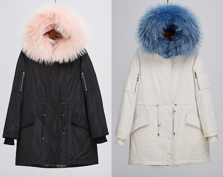 Raccoon Fur Trimmed Hood Down-filled Parka with Detachable Rex Rabbit Fur Liner 253 Color 1
