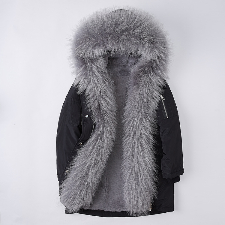 Raccoon Fur Trimmed Hood Down-filled Parka with Detachable Rex Rabbit Fur Liner 253 Color 2