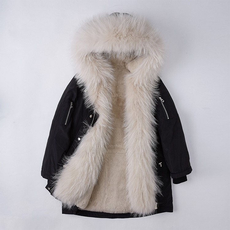 Raccoon Fur Trimmed Hood Down-filled Parka with Detachable Rex Rabbit Fur Liner 253 Color 3