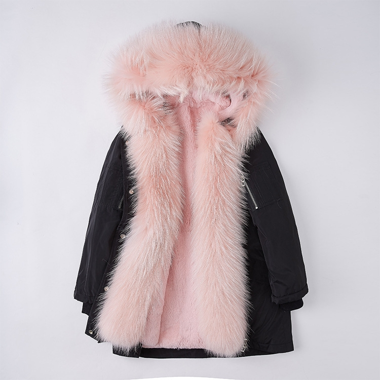 Raccoon Fur Trimmed Hood Down-filled Parka with Detachable Rex Rabbit Fur Liner 253 Color 4
