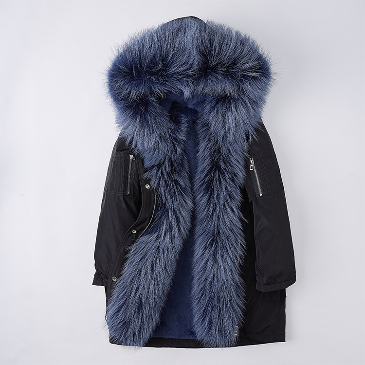 Raccoon Fur Trimmed Hood Down-filled Parka with Detachable Rex Rabbit Fur Liner 253 Color 5