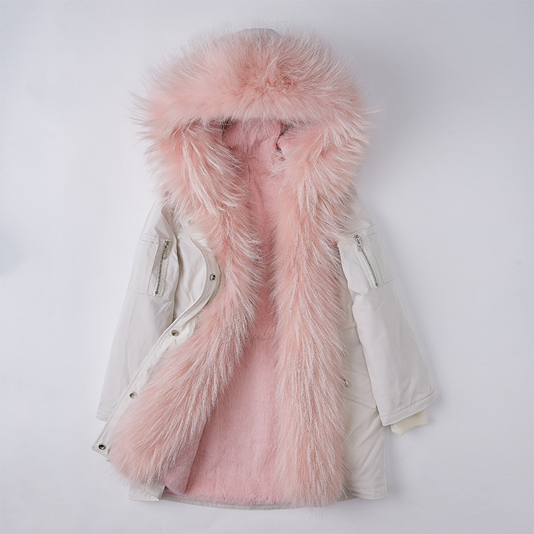 Raccoon Fur Trimmed Hood Down-filled Parka with Detachable Rex Rabbit Fur Liner 253 Color 6