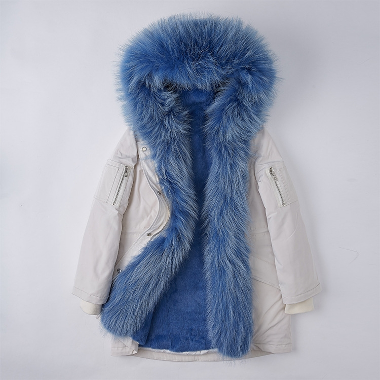 Raccoon Fur Trimmed Hood Down-filled Parka with Detachable Rex Rabbit Fur Liner 253 Color 7