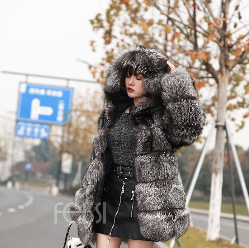 Silver Fox Fur Coat 254 Details 12