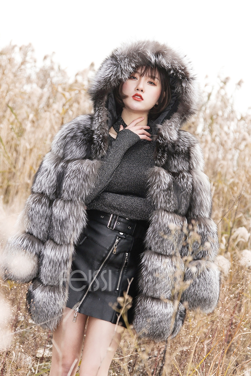 Silver Fox Fur Coat 254 Details 14
