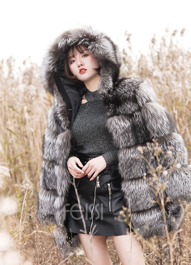 Silver Fox Fur Coat 254 Details 15