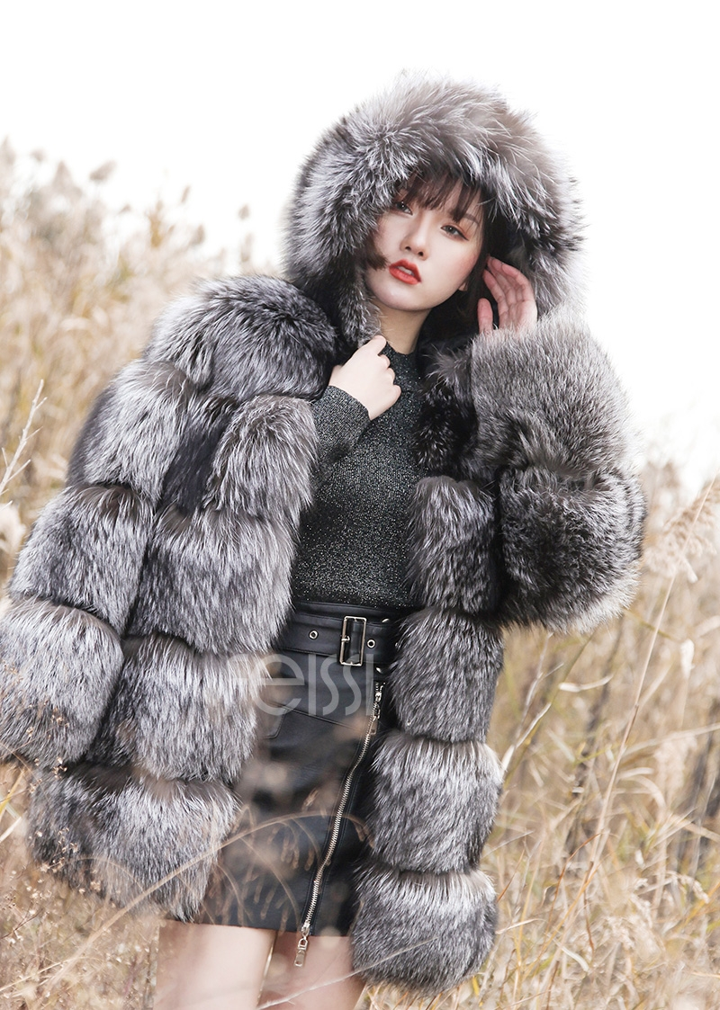 Silver Fox Fur Coat 254 Details 16