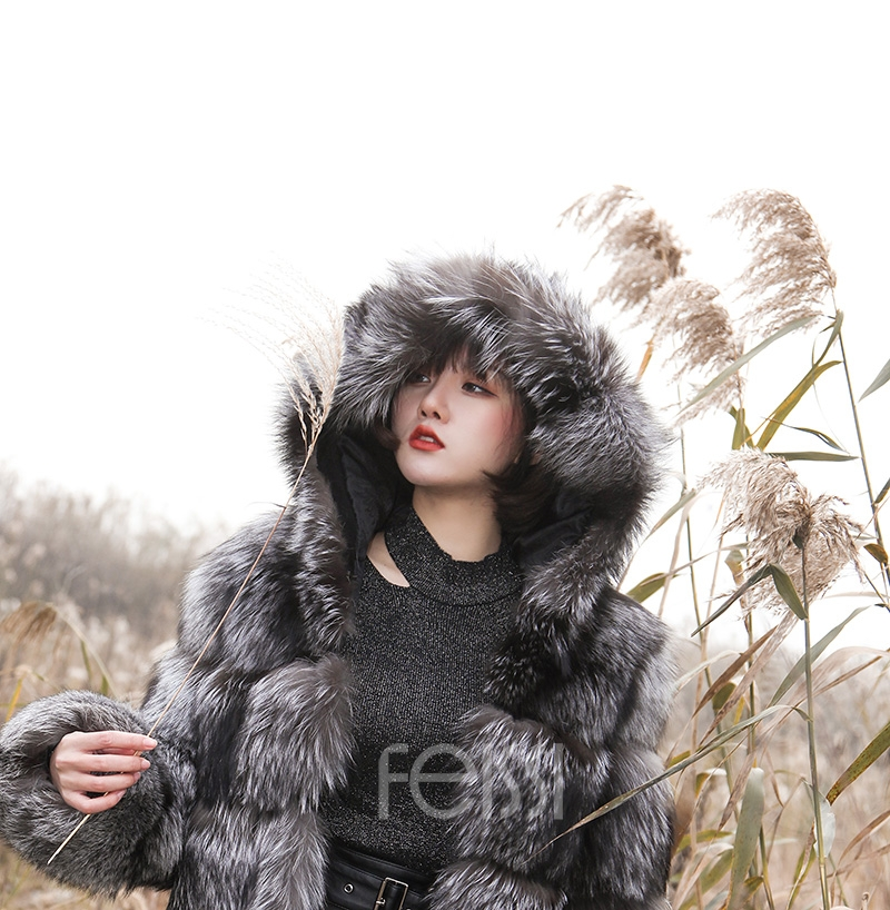 Silver Fox Fur Coat 254 Details 17