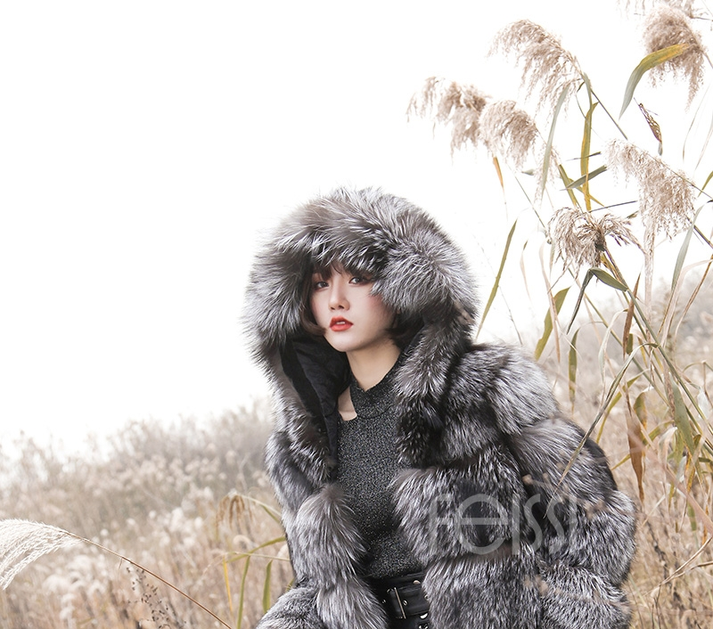 Silver Fox Fur Coat 254 Details 18