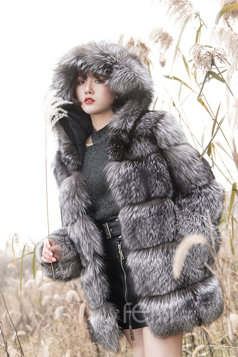 Silver Fox Fur Coat 254 Details 19