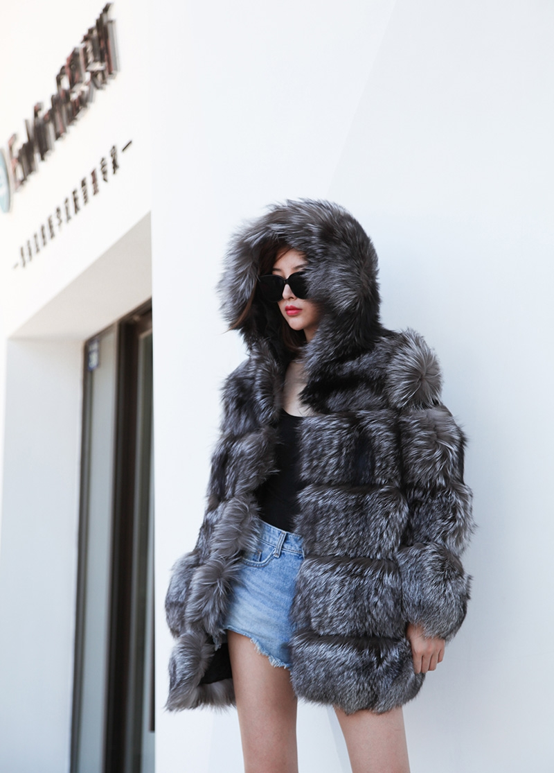 Silver Fox Fur Coat 254 Details 2