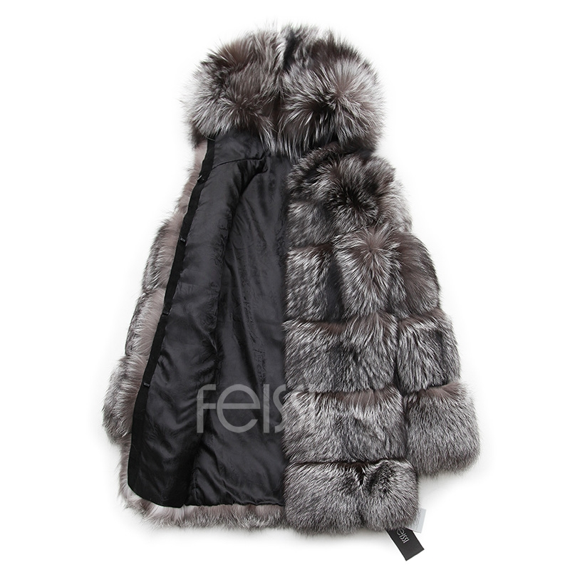 Silver Fox Fur Coat 254 Details 21