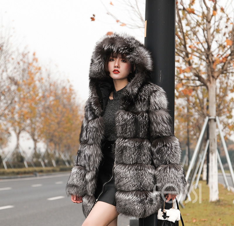 Silver Fox Fur Coat 254 Details 7