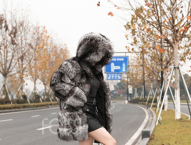 Silver Fox Fur Coat 254 Details 9
