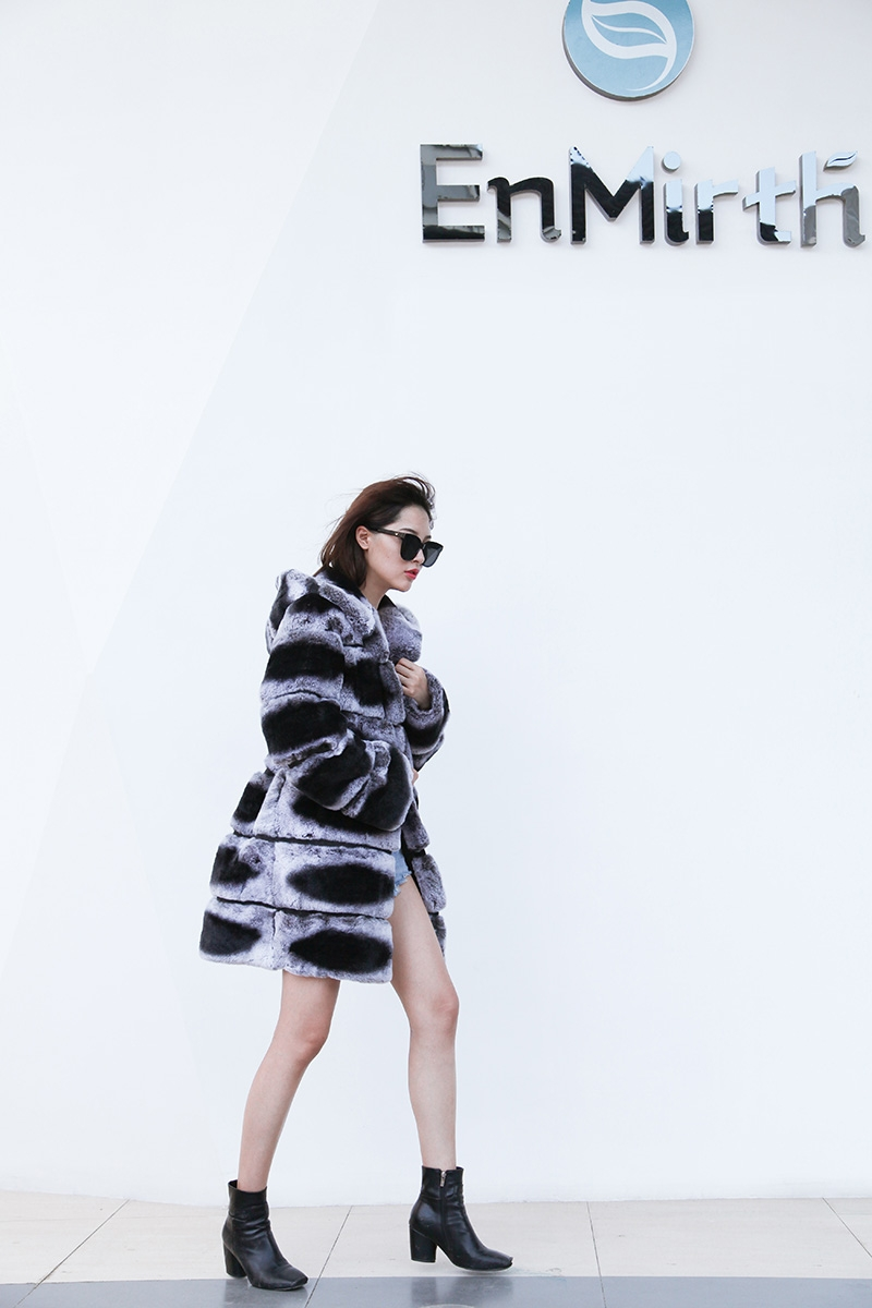 Hooded Rex Rabbit Fur Coat with Chinchilla Look 255 Details 5
