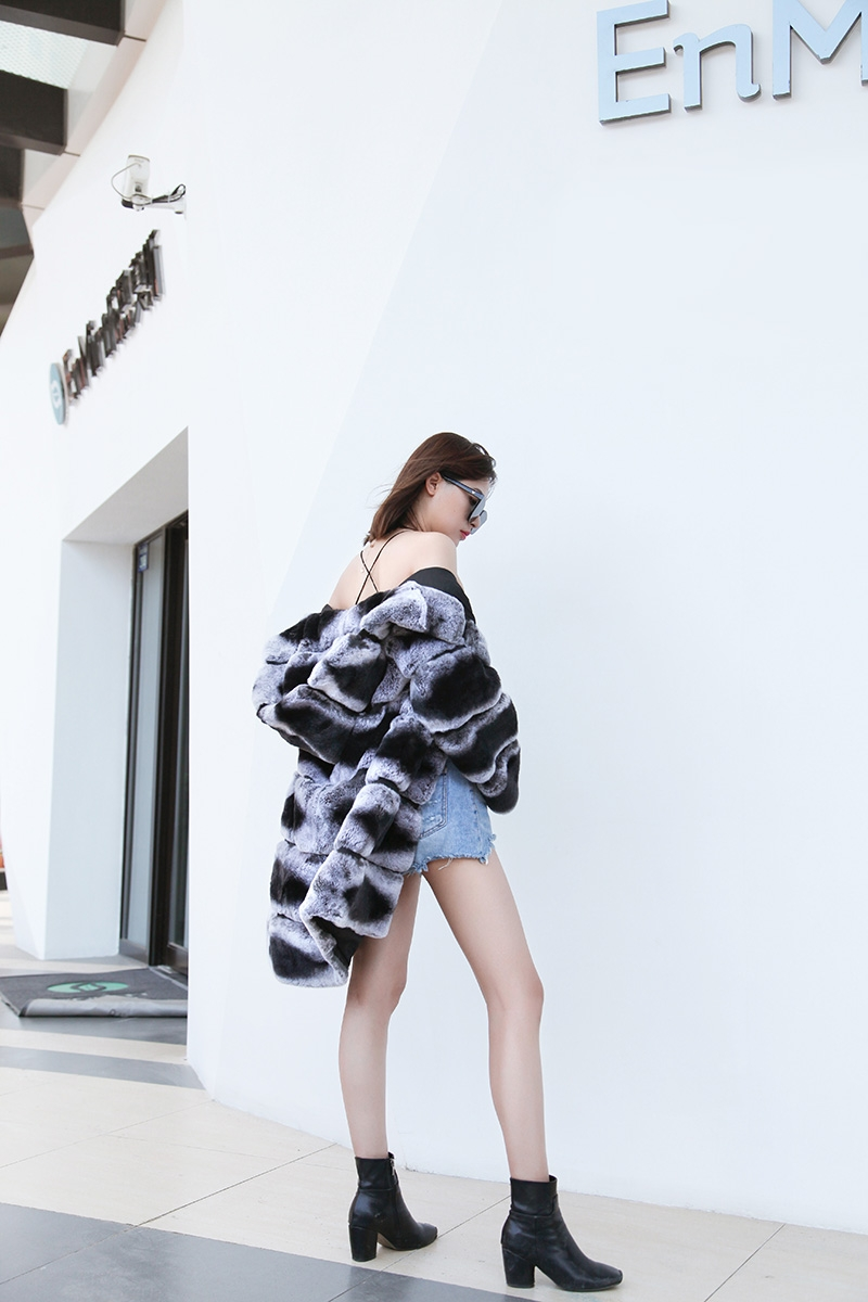 Hooded Rex Rabbit Fur Coat with Chinchilla Look 255 Details 8